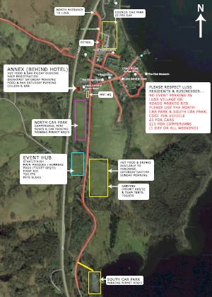 Map of Luss, car parking, event hub